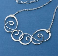 Forged Silver Scrollwork Necklace by Miel Paredes