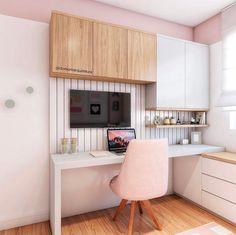 """Como Montar Um Home Office: 5 Dicas Essenciais! Não sabe por onde começar e fica se perguntando como montar um #homeoffice ? Confira essas 5 dicas! Se você gosta de tons mais claros, e um estilo """"Pinterest""""... Home Office Decor, Office Desk, Home Decor, Corner Desk, Kids Room, Bedroom Decor, Kitchen Cabinets, Furniture, Room Inspiration"""