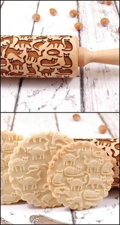 Here's the perfect rolling pin for cat lovers out there! Know someone who loves baking as well as cats? This laser-engraved rolling pin will make a great gift idea. Or if you're the baker, you can (Baking Cookies Funny) Cat Gifts, Cat Lover Gifts, Fancy Cookies, Cat Cookies, Baking Cookies, Cupcakes, Cat Cafe, Kitchen Gadgets, Sweet Treats