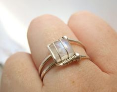 Moonstone Ring Sterling Silver - Modern Square Design - Wire Wrapped Rainbow Moonstone Ring