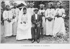 """Boda en Camerún (1912) Fotografía de Robert H. Milligan, autor del libro """" The Fetish Folk of West Africa"""", que trata de las costumbres, hábitos y creencias de los pueblos Mpongwe y Fang del África Occidental."""