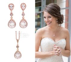 Rose Gold Bridal Jewelry Set Earrings by SeraphineCreations