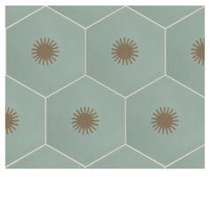 Jigsaw Sun Encaustic by Neisha Crosland Tiles Neutral Colors, Colours, Terrazzo Tile, Pebble Grey, Hexagon Tiles, Satin Color, Style Tile, Commercial Interiors, Bath And Beyond