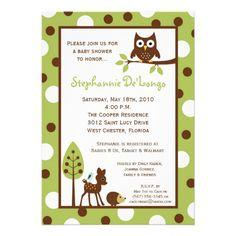 woodland animal shower | 5x7 Forrest Woodland Animal Baby Shower Invitation