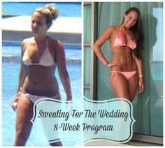 Sweating For The Wedding Fitness Program! - 8 Weeks Of Workouts - Nutritionist Designed Meal Plan - Grocery List - Recipes - Restaurant Guide - Online Support. If you're a bride who is looking to shed a few dress sizes, flatten your waist, tighten your arms and just WOW your guests when they see how INCREDIBLE you look, you just found the best way to do it!