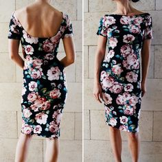 Tutorial for this dress available at sewyouthinkyoucansew.com/bombshelldress Combination of the Pattern for Pirates Pencil Skirt and Sweetheart dress with a modified neckline. Fabric is double brushed poly from Knitpop. Dress pattern, sewing, DIY, Night out, floral, cocktail dress, boatneck, short dress, black dress, little black dress, backless dress Follow me on Instagram @sew_youthinkyoucansew