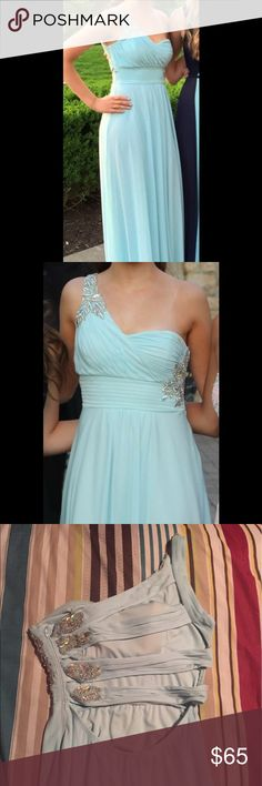 Light blue formal dress Great formal full length dress, worn only once for prom! Perfect condition and freshly dry cleaned. Straps across back are stunning! Marked Nordstrom for exposure Nordstrom Dresses One Shoulder