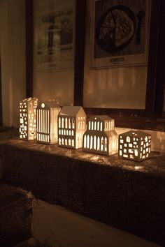 The Urbania votive candle houses by Kähler Design. Buy the ceramic houses with hand-carved windows for votive candles now in the home design shop! Clay Houses, Ceramic Houses, Ceramic Clay, Ceramic Pottery, Paper Houses, Nordic Christmas Decorations, Luminaria Diy, Cerámica Ideas, Pottery Houses
