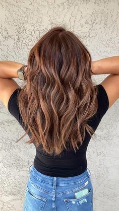 Balyage Long Hair, Red Balayage Hair, Balayage Hair Caramel, Brunette Balayge, Brunette Hair Warm, Brown Balyage, Dark Brown To Blonde Balayage, Soft Balayage, Auburn Balayage