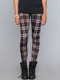 BNWT Tartan Skinny Leg Pants Side Zip Prim Grunge Emo Punk Goth