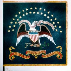 Painting of regimental colors of the 115th Ohio Volunteer Infantry. .Text on flag reads: 115th O.V.I. Regiment. Infantry.