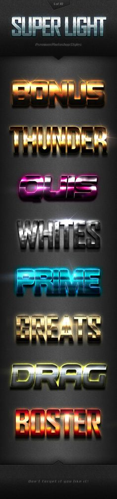 DOWNLOAD:    goo.gl/MdTLQXSuper Light Text Effects Vol.10With high quality and premium effects can produce the effect of a more perfect and interesting to all your texts and all style eff...