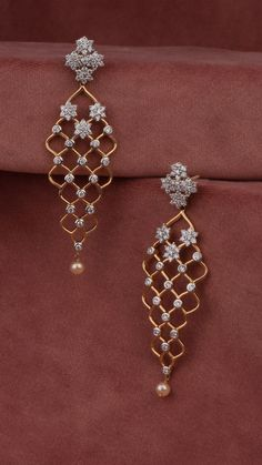 Diamond fashion jewelry collects dirt and oil buildup after a while. This buildup comes from hand lotions, hair styling items, dust, and even perspiration. Indian Jewelry Earrings, Fancy Jewellery, Jewelry Design Earrings, Gold Earrings Designs, Gold Jewellery Design, Stylish Jewelry, Bridal Jewelry, Fashion Jewelry, Jewellery Shops