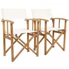 Charles Bentley Fsc Pair Of Wooden Foldable Directors Chairs With Cream Fabric Wooden Garden Chairs, Wooden Garden Furniture, Deck Chairs, Outdoor Chairs, Outdoor Decor, Folding Beach Chair, Folding Camping Chairs, Folding Garden Chairs, Camping Fabric