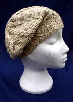 Hand knitted stylish small woollen cabled beret in 'Limestone'. Knitted Beret, Knit In The Round, Crochet Accessories, Hats For Women, Hand Knitting, Knit Crochet, Gifts For Her, Winter Hats, Beanie