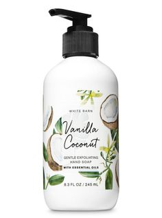 Nov 2019 - Vanilla Coconut Gentle Exfoliating Hand Soap by Bath & Body Works Soap Packaging, Cosmetic Packaging, Exfoliating Soap, Essential Oils Soap, Bath And Bodyworks, Natural Cosmetics, Smell Good, Smooth Skin, Label Design