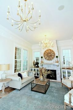 The paint colors in this room are Natural Choice on the walls (Sherwin Williams), Nebulous Gray on the ceiling and Pure White on the trimwork. Natural Choice Sherwin Williams, Room Colors, Paint Colors, Blog Images, Pure White, Service Design, Family Room, Gallery Wall, Diy Projects