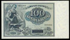 Estonian 100 Krooni banknote of 1935, issued by the Bank of Estonia - Eesti Pank.  Obverse: Blacksmith.