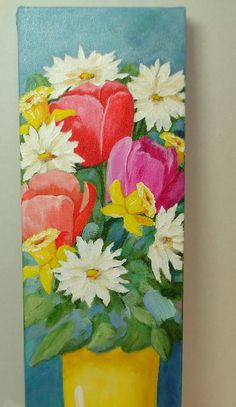 199 best pretty paintings daisies images on pinterest in 2018 spring floral art 6x18 deep edge canvas daffodils tulips daisies and more flowers floral arrangement still life original canvas art mightylinksfo