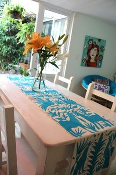 turquoise blue Otomi Runner by CasaOtomi on Etsy,     www.casaotomi.com Tenango, Otomi, Casa otomi, Casaotomi, Mexican Suzani, Mexican, wedding, Textile, Fabric, Hand Embroidered, embroidery, table runner, cushion, pillow, authentic, wall hanging,