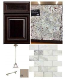 Kitchen Cabinet Espresso And Granite Crema Perla