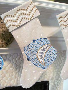 Shark Design Hand Painted Canvas Cuffed Christmas Stocking Nautical, Sea Life, Ocean, Beach Christmas. $45.00, via Etsy.