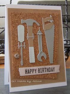 card tool MFT tools cork - card for men masculine - Happy birthday Made by Alina MFT die-namics #mftstamps