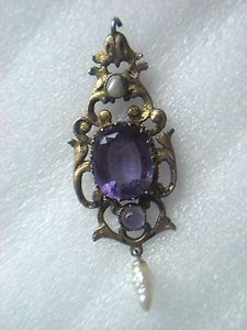 AUSTRO HUNGARIAN SILVER GILT AMETHYST SET AND PEARL DROP PENDANT