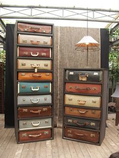 Vintage suitcases repurposed as chest of drawers. I know I hate people that say repurposed Vintage Furniture, Diy Furniture, Upscale Furniture, Cardboard Furniture, Bedroom Furniture, Vintage Suitcases, Vintage Luggage, Vintage Trunks, Vintage Suitcase Decor