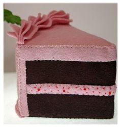 Wool Felt Play Food Chocolate Cake Slice with by EvaLauryn