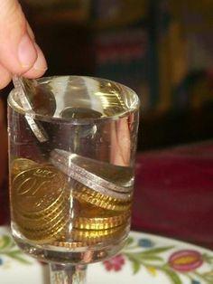 Wieviele Münzen braucht es, bis das Wasser im Glas übergeht?     Ein Glas bis oben an den Rand mit Wasser füllen.  Und dann schätzen, wievi...