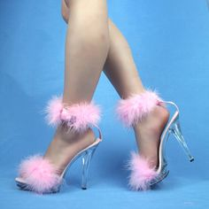 VIP 5 inch Handmade Baby Pink Marabou Boa Ankle Strap Slippers High Heel Sandals Woman Shoes (Other Platform Heights Available! Cute Shoes, Me Too Shoes, American Apparel, Handgemachtes Baby, Stripper Heels, Everything Pink, Mode Vintage, Coachella, Ideias Fashion
