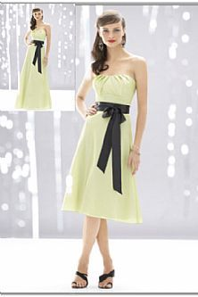 Knee Length Yellow Green Satin Bridesmaid Dresses With Black Ribbon