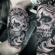 Get lost in time with these intricately inked pocket watch tattoos for men. Break the chain of boring with realistic and cool design ideas. Pocket Watch Tattoos, Pocket Watch Tattoo Design, Cool Tattoos For Guys, Badass Tattoos, Trendy Tattoos, Skeleton Tattoos, Skull Tattoos, Sleeve Tattoos, Tattoo Arm Designs