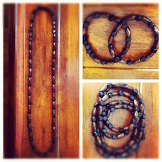 Wood necklace and bracelet black and brown beads