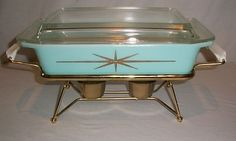 VINTAGE PYREX Serving Casserole & Warmer Turquoise ... | Turquoise He ...