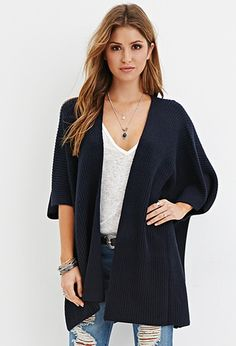 Open-Front Ribbed Cardigan | Forever 21 - 2000163901