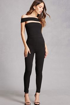 8c8b17292f4c A textured stretch knit jumpsuit featuring a foldover off-the-shoulder  neckline with a