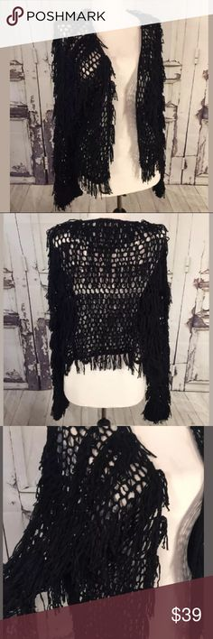 Umgee Cropped Cardigan Jacket Fringe Knitted Small Umgee Cropped Cardigan Jacket Fringe Shimmy Knitted Crochet Black Party Small S Umgee Sweaters Cardigans