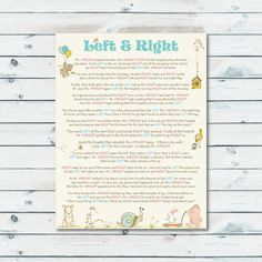 Left Right Baby Shower Game Printable, Left Or Right Storybook Baby Shower  Game, Book Themed Right And Left Game, Pass The Prize Printable