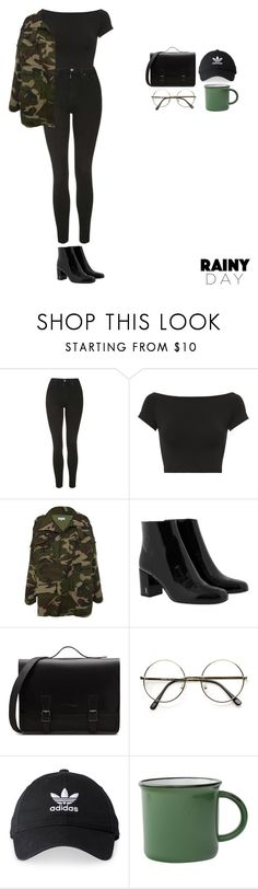 """Untitled #505"" by tiffvnyyy ❤ liked on Polyvore featuring Topshop, Helmut Lang, Yves Saint Laurent, adidas and rainyday"