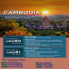 HISTORICAL CAMBODIA PACKAGE (Land Arrangement Only) Minimum of 2 persons  For more inquiries please call: Landline: (+63 2) 8 282-6848 Mobile: (+63) 918-238-9506 or Email us: info@travelph.com #SiemReap #Cambodia #TravelPH #TravelWithNoWorries Siem Reap, Angkor, Cambodia, Packaging, Travel, Viajes, Destinations, Wrapping, Traveling