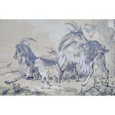 *GARRISSON (XIXe), LES CHEVRES, DESSIN Mine de plomb, 1846
