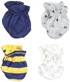 Gerber Baby-Boys Newborn 4 Pack Mittens Sports Blue 0-3 Months