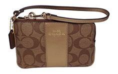 Coach F64233 Khakigold Signature PVC Leather Corner Zip Wristlet F64233 *** See this great product.