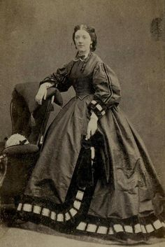 CDV: A woman wearing a hooped dress with patterned hem. Bentley, Buxton c.1860  | eBay