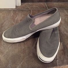 Men's Jack Purcell Converse shoes - size 10.5 Like new!  Men's Jack Purcell gray slip on converse shoes. Size 10.5 in men's or 12 in women's. My husband probably wore these 4 times!  Selling at Nordstrom now for $64.95 new.     Durable canvas forms a stretch-fit slip-on with classically cool style. Removable insole. Textile upper and lining/rubber sole. By Converse; imported. Men's Shoes. Converse Shoes