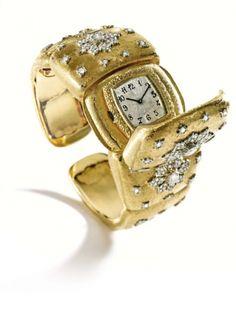 18 Karat Two-Color Gold and Diamond Bracelet-Watch, Buccellati