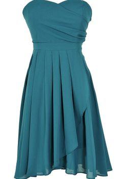 Strapless Teal Dress