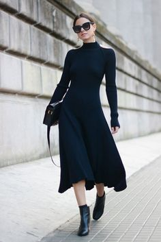 Midi Ribbed Sweater Dress + Ankle Booties